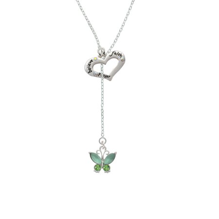 Butterfly with Green Wings - Believe Faith Prayer Heart Lariat Necklace - Faith Necklace