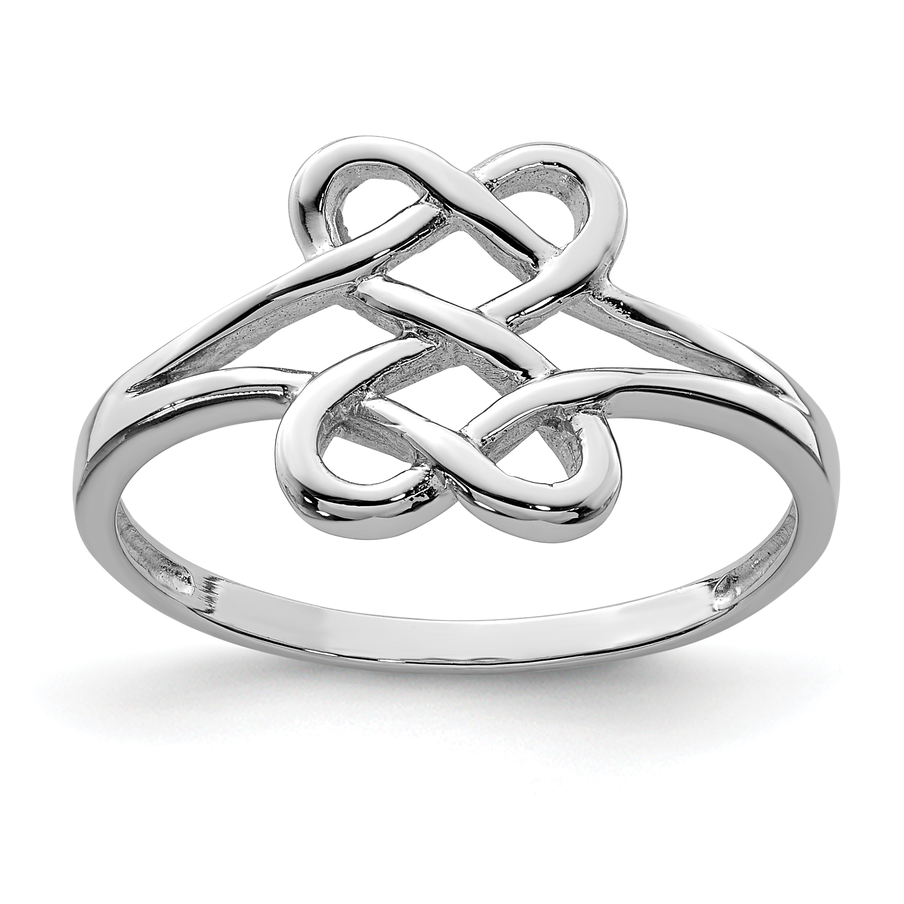 925 Sterling Silver Two Sided Heart Band Ring Size 7.00 S/love Fine Jewelry Gifts For Women For Her - image 2 de 2