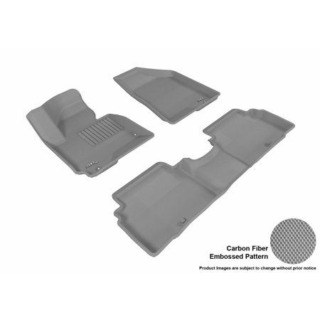 3D Maxpider 2014 2016 Kia Sportage Front   Second Row Set All Weather Floor Liners In Gray With Carbon Fiber Look