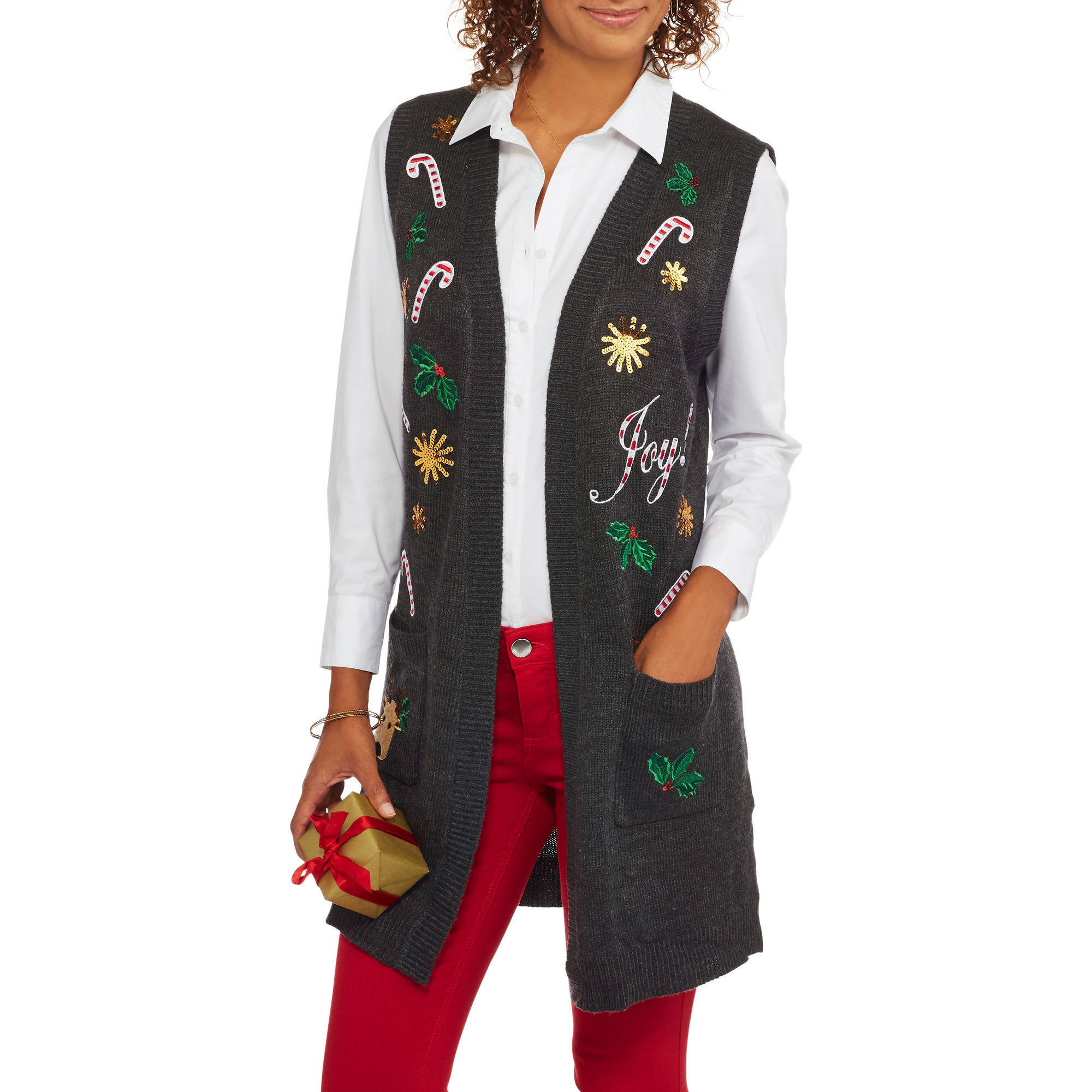 "Holiday Time Women's Christmas Sweater Vest - ""Joy"""