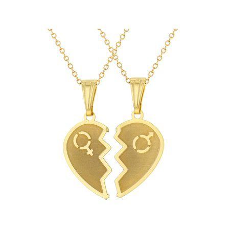 18k Gold Plated Split Heart Necklace for Couples Pendant Love 19