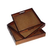 Cheungs 3 Piece Square Wooden Tray Set