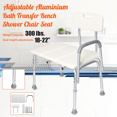 Grtsunsea Aluminum Frame Medical Shower Bath Tub Transfer Bench Height Adjustable w/ Back and Armrest Stool Non Slip Shower Chair Seat Bathroom For Elderly 300 lbs Load Capacity