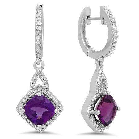 - Dazzlingrock Collection 14K Round Amethyst & White Diamond Ladies Halo Style Dangling Drop Earrings, White Gold