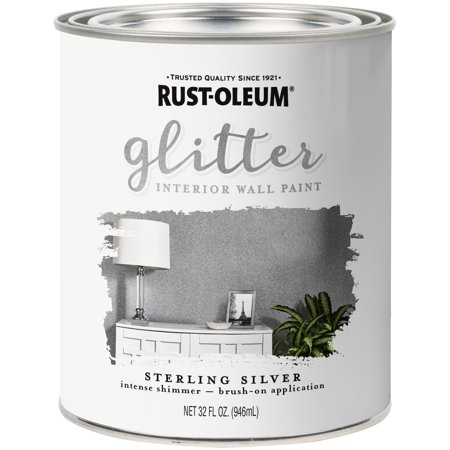 Rust-Oleum Sterling Silver Glitter Interior Wall Paint, - Glitter For Paint