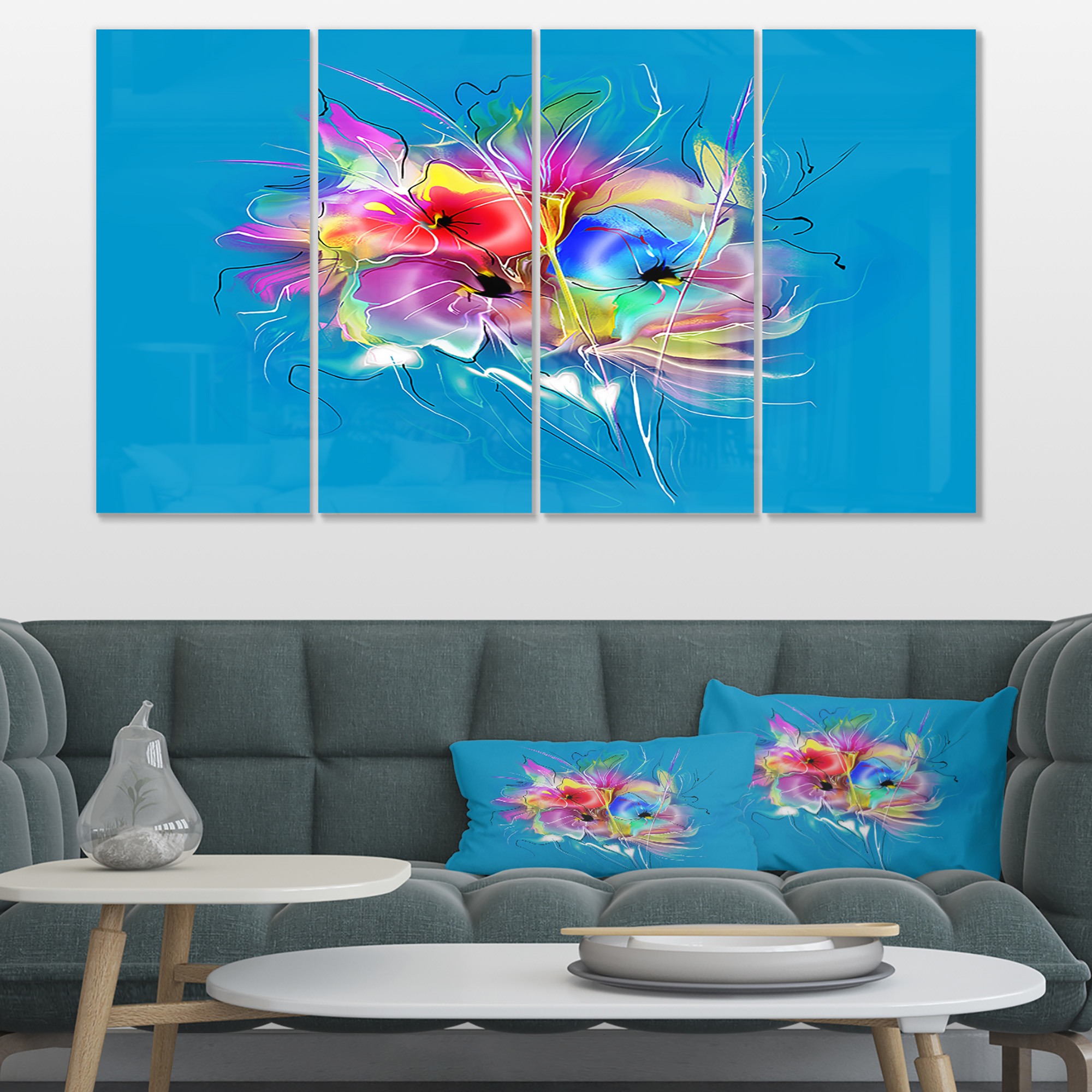 Summer Colorful Flowers on Blue - Extra Large Floral Wall Art - image 4 de 4