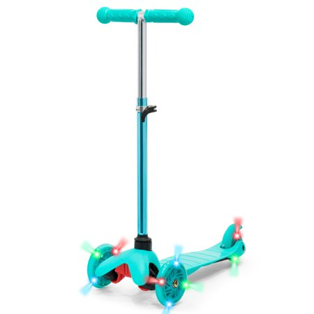 Best Choice Products Kids Mini Kick Scooter w/ Light-Up Wheels and Height Adjustable T-Bar - Mint Blue