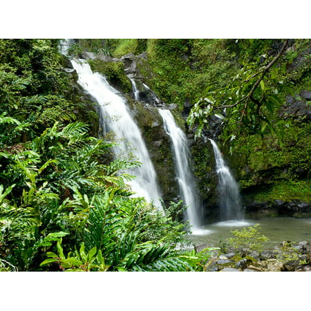Canvas Print Waterfall Tropical Island Hawaii Nature Scenic Stretched Canvas 10 x 14