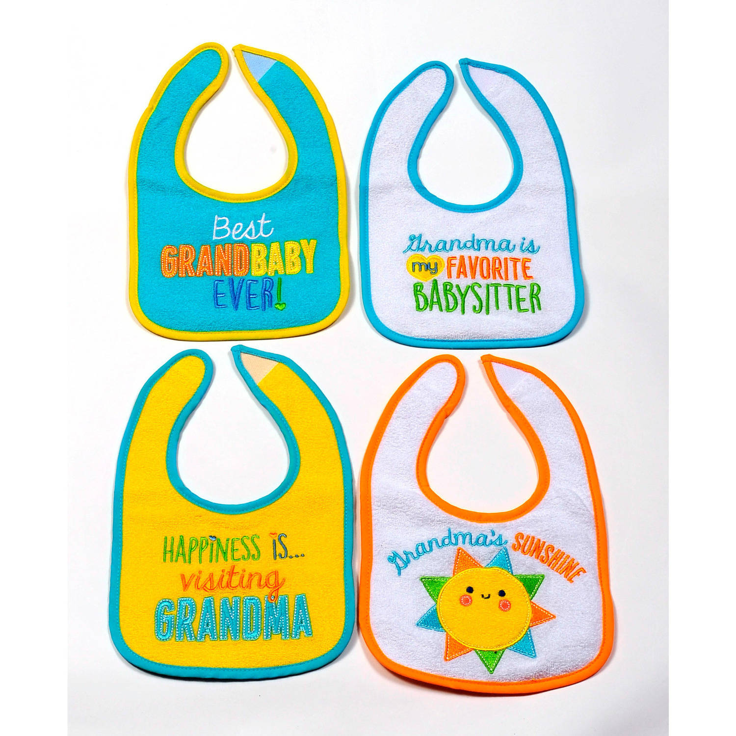 Parent's Choice Neutral Baby Bib, Grandma, 4-Pack