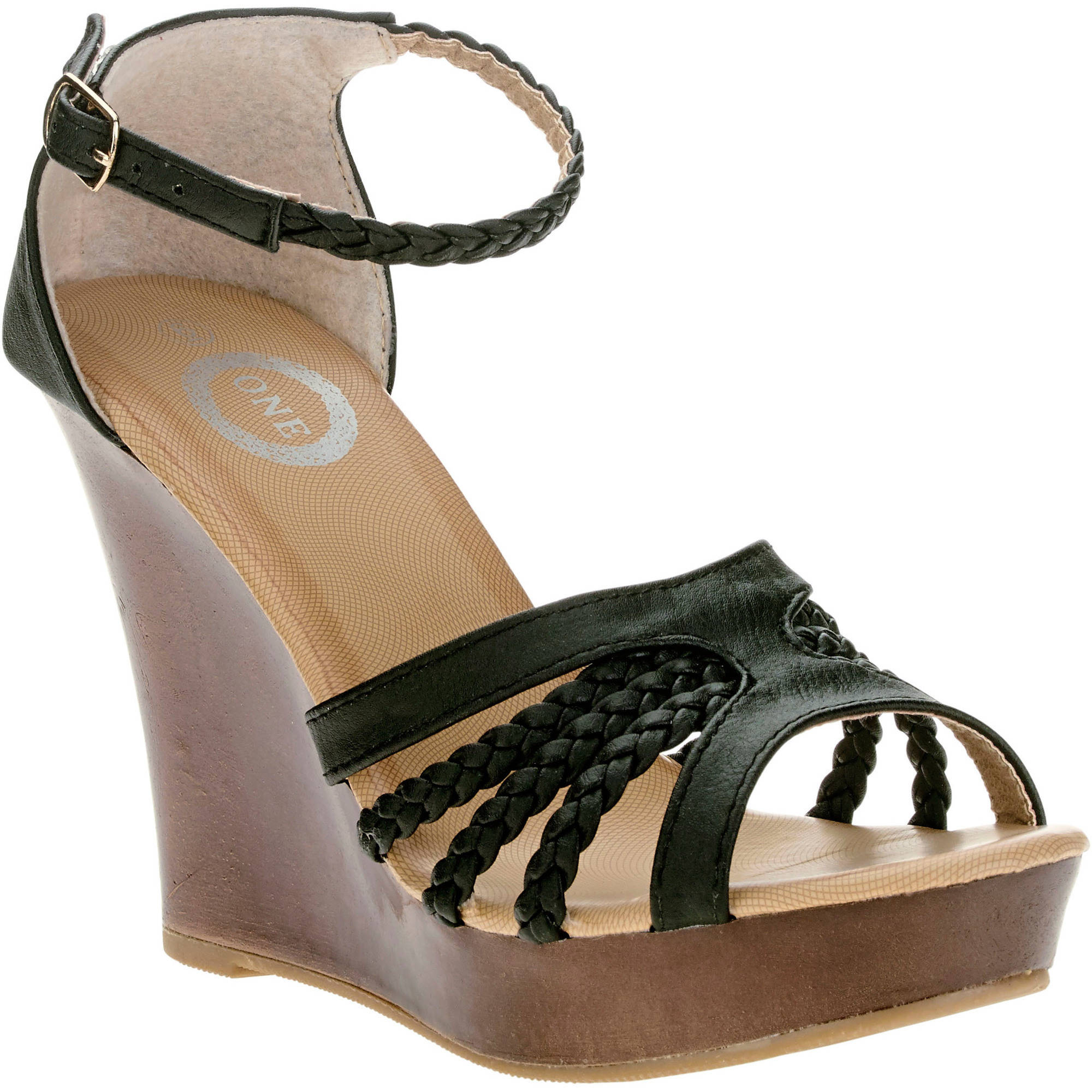One Women's Open Toe Braided Wedge Sandal