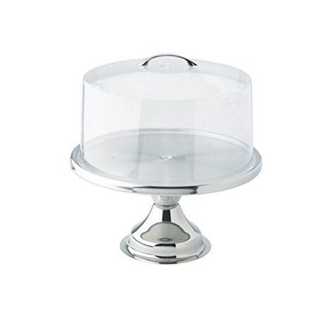 Winco 13inch Stainless Steel Cake Stand CKS-13, with Matching Acrylic Cover CKS-13C - Gift Set by Winco ()