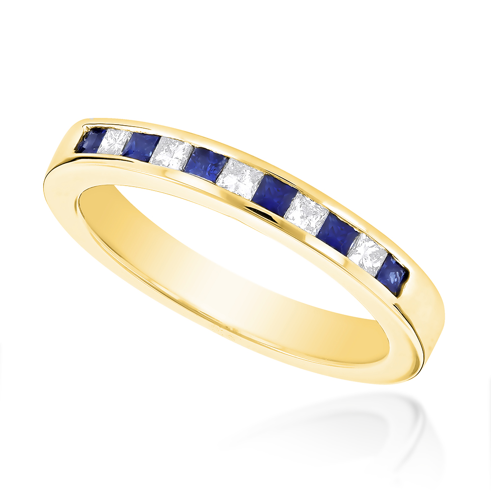 Luxurman Ladies Channel Set Princess Cut Sapphire and Natural Diamond Ring 14K (Yellow Gold Size 4.5) by Luxurman