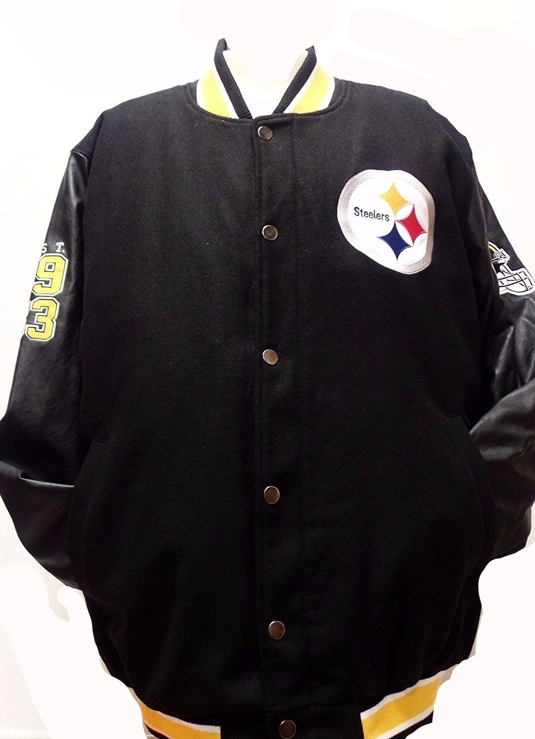 Pittsburgh Steelers Wool and Pu Leather Big and Tall Button up Jacket by G-III Sports