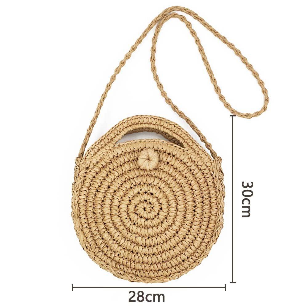 Women Straw Summer Beach Bag Handwoven Round Rattan Bag Cross Body Bag Shoulder Messenger Satchel