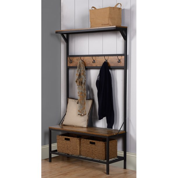 Homestar Contemporary 3-Shelf 39 In. Wide Hall Tree With Shoe Storage, Multiple Finishes