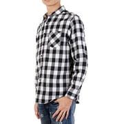 SAYFUT Men's Casual Button-down Shirts Long Sleeve Plaid Shirt Cotton Flannel Shirts for Men Black/Blue/L-4XL