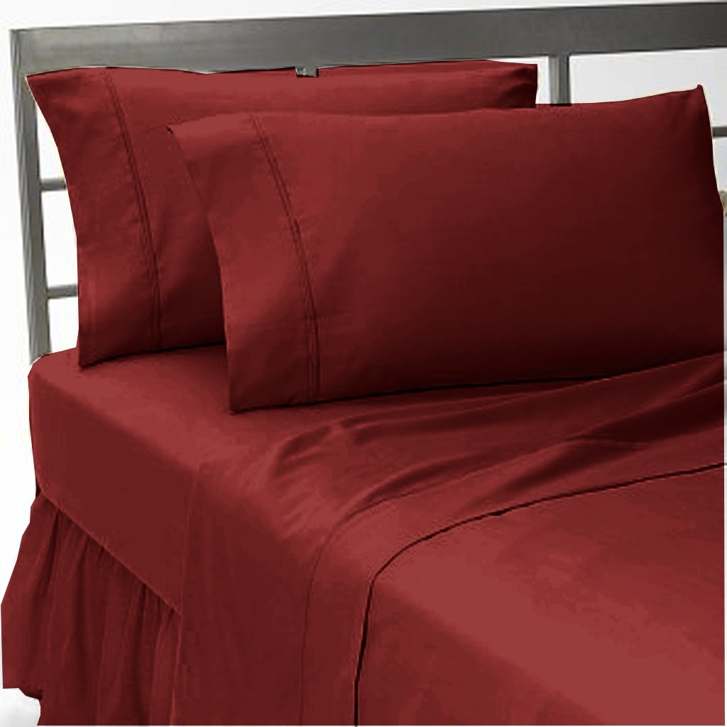 Egyptian Bedding 100% Egyptian Cotton 300 Thread Count 4 Peice Bed Sheet Set, Burgundy Solid, Olympic Queen Size