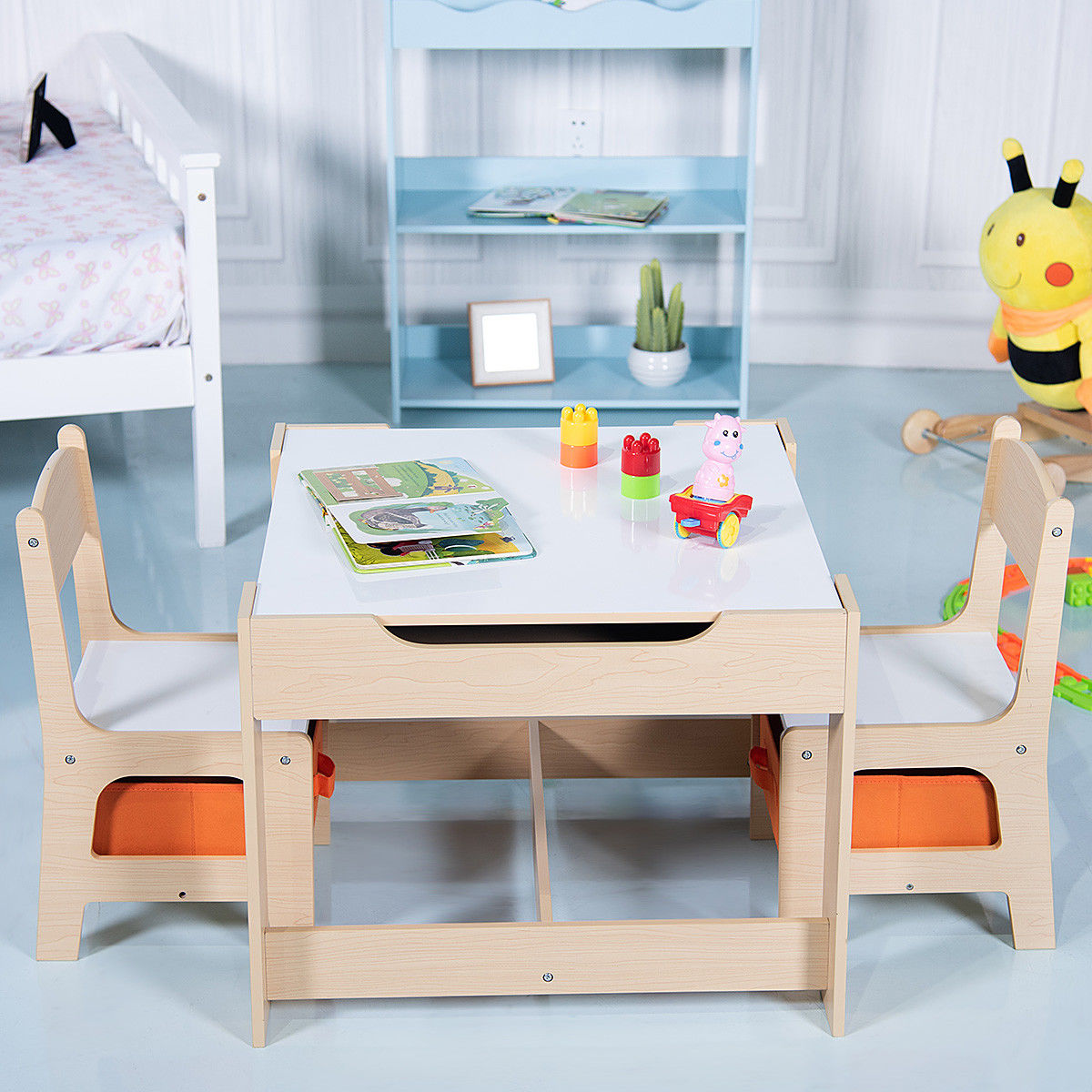 Gymax Children Kids Table Chairs Set With Storage Boxes Blackboard ...