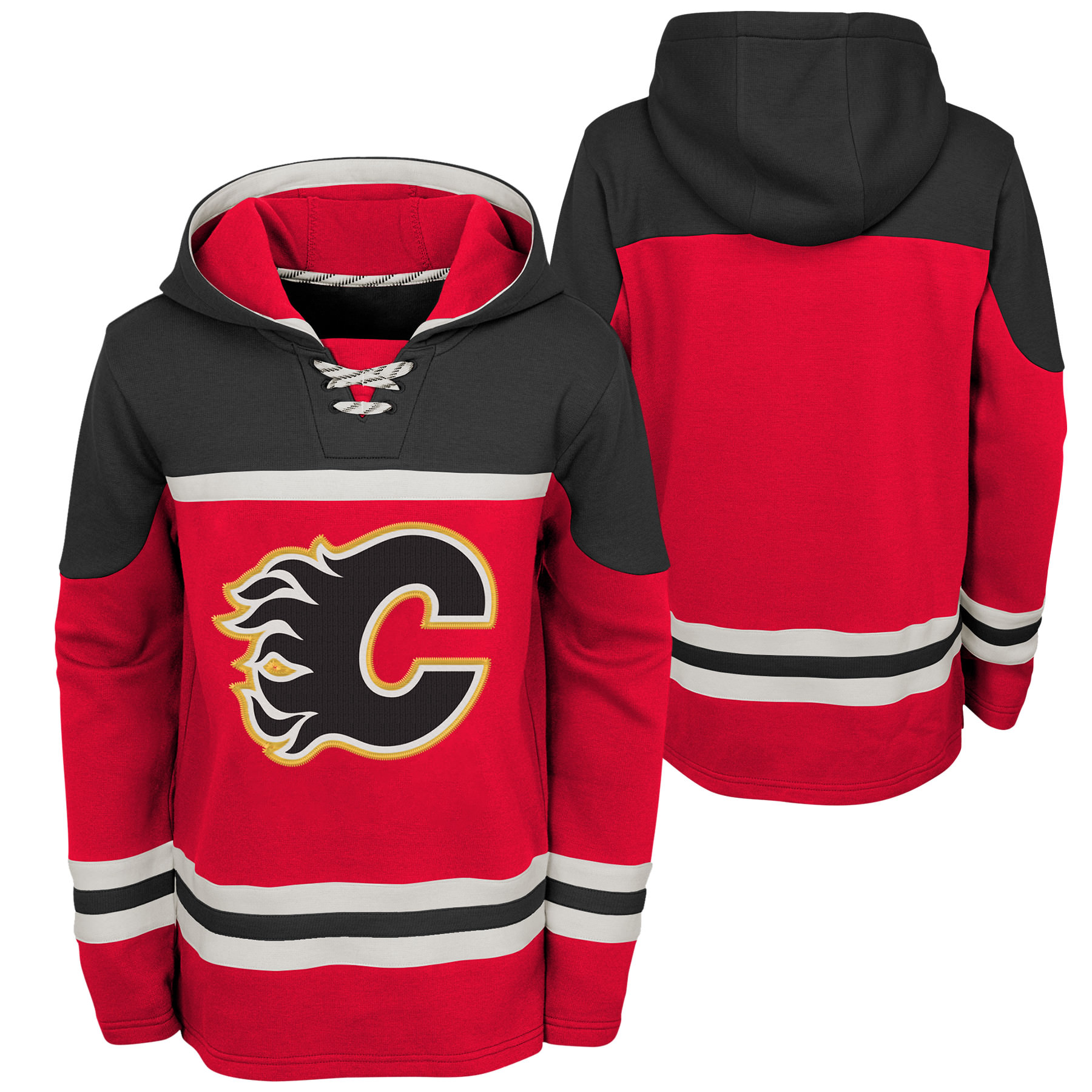 new style 58a0e 41a7f Outerstuff Youth Calgary Flames NHL Asset Hockey Hoodie