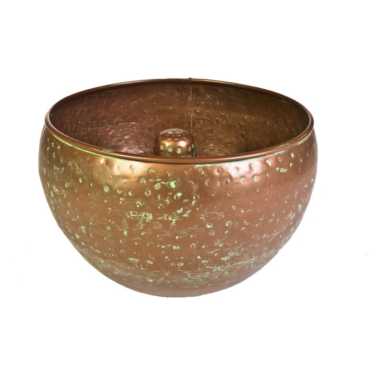 Garden Hose Container, Hammered Copper Finish