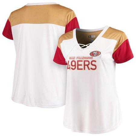 - San Francisco 49ers Majestic Women's Lace-Up V-Neck T-Shirt - White/Scarlet