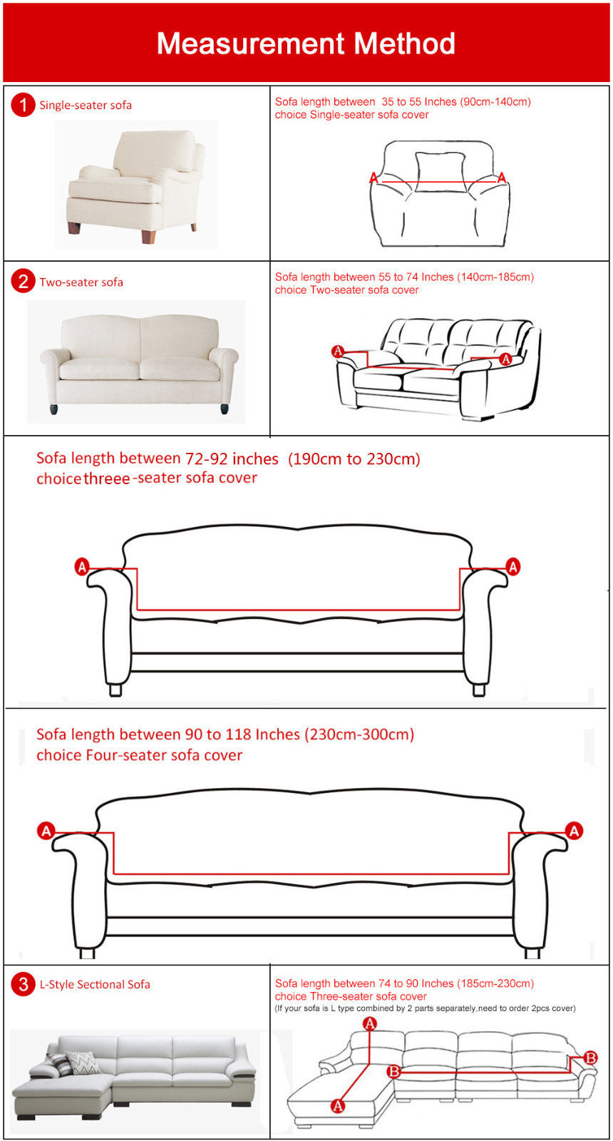 All Cover Sectional Sofa L Shape Slipcover Elastic Washable Couch 2seater 55 To 74inch 3 Seater 74 90 Inch Stretch