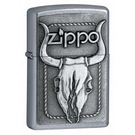 Zippo Bull Skull Emblem Street Chrome Lighter