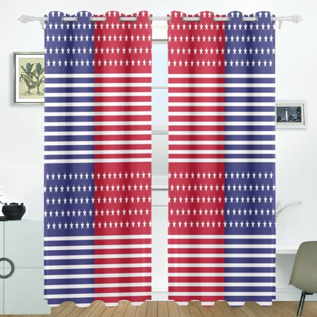 POPCreation Patriot Red White Window Curtain Blackout Curtains Darkening  Thermal Blind Curtain for Bedroom Living Room,2 Panel (52Wx84L Inches)