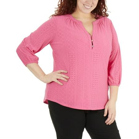 Cotton Mandarin Collar Shirt - Women's Plus Size 3/4 Sleeve Mandarin Collar Top