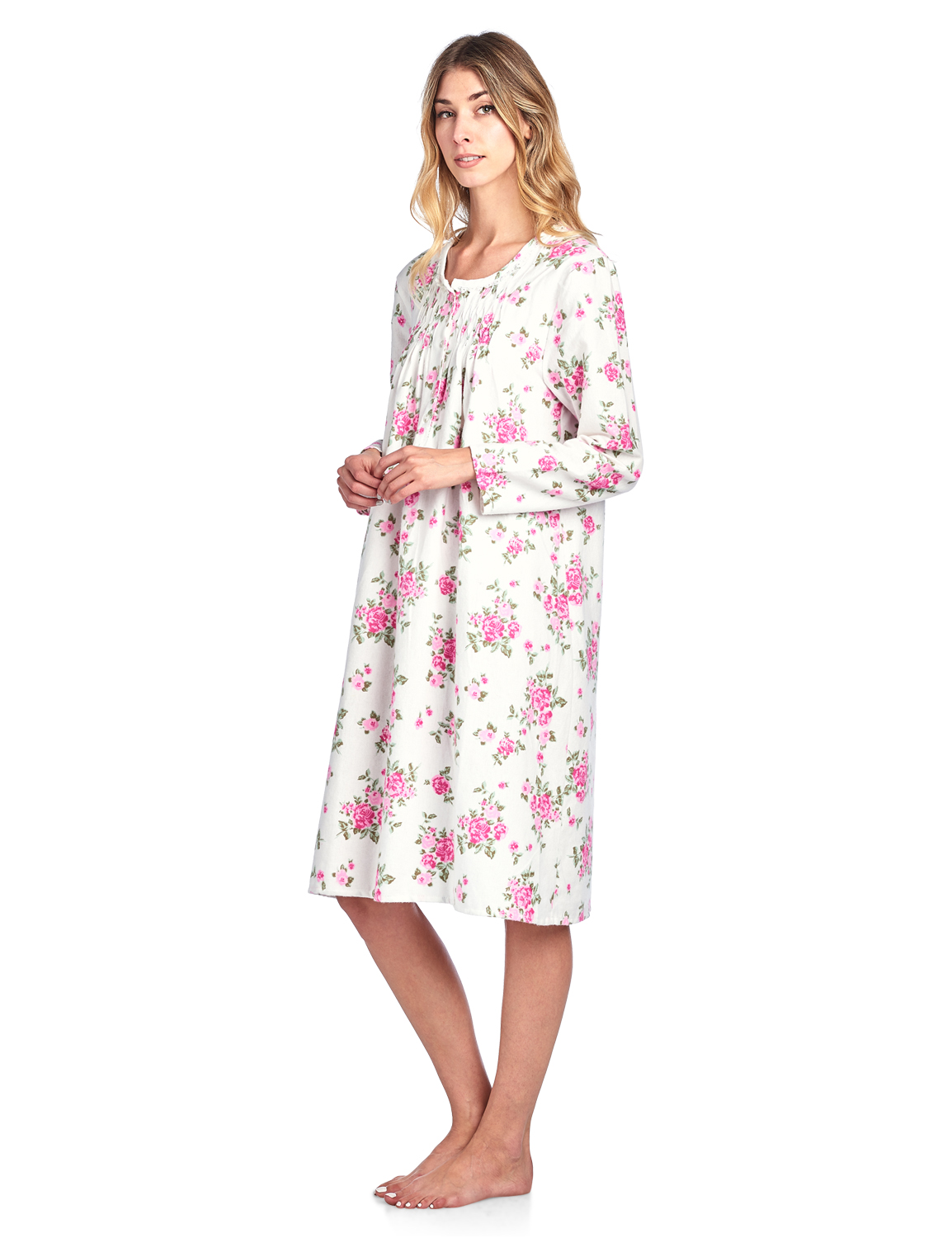 Casual Nights Women\'s Flannel Floral Long Sleeve Nightgown - Walmart.com
