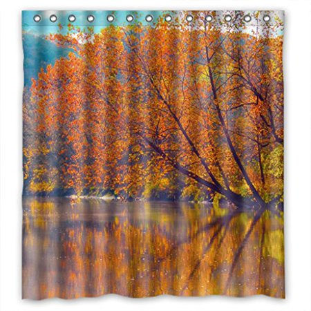 EREHome Riverside Orange Trees Reflect On The Water Autumn View Shower Curtain Polyester Fabric Bathroom Decorative Curtain Size 66x72 Inches - image 1 de 1