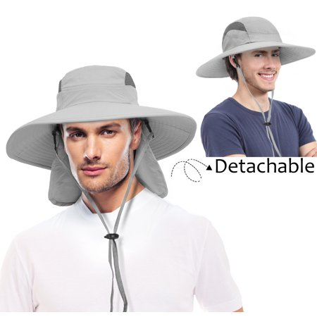 29084c1277c313 Fishing Cap UV Sun Protection, Wide Brim Hat with Removable Bill Neck Flap  for Men Women, Safari Hiking Hunting Boating Camping and Outdoor Adventures  ...