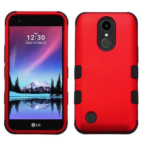 For LG Aristo LV3 / LG Rebel 2 / LG K4 2017 / LG K8 2017 / LG Fortune / LG Phoenix 3 / LG Risio 2 Case Dual Layer Tuff Armor Hybrid Silicone Phone Cover (Red/Black)