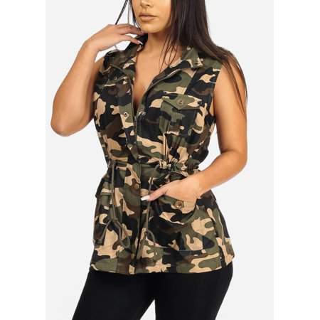 Super Stylish Womens Juniors Cotton Camouflage Army Print Cargo Style Outwear Vest