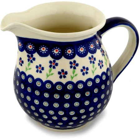 Polish Pottery 56 oz Pitcher (Bright Peacock Daisy Theme) Hand Painted in Boleslawiec, Poland + Certificate of Authenticity