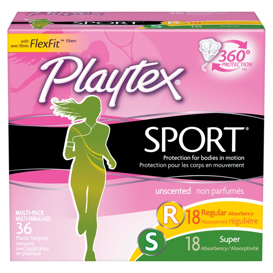 Playtex Sport Unscented Tampons Multi-Pack (Regular/Super), 36 Ct