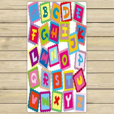 Abp Bath (YKCG Funny Educational Alphabet ABC Hand Towel Beach Towels Bath Shower Towel Bath Wrap For Home Outdoor Travel Use 30x56 inches )