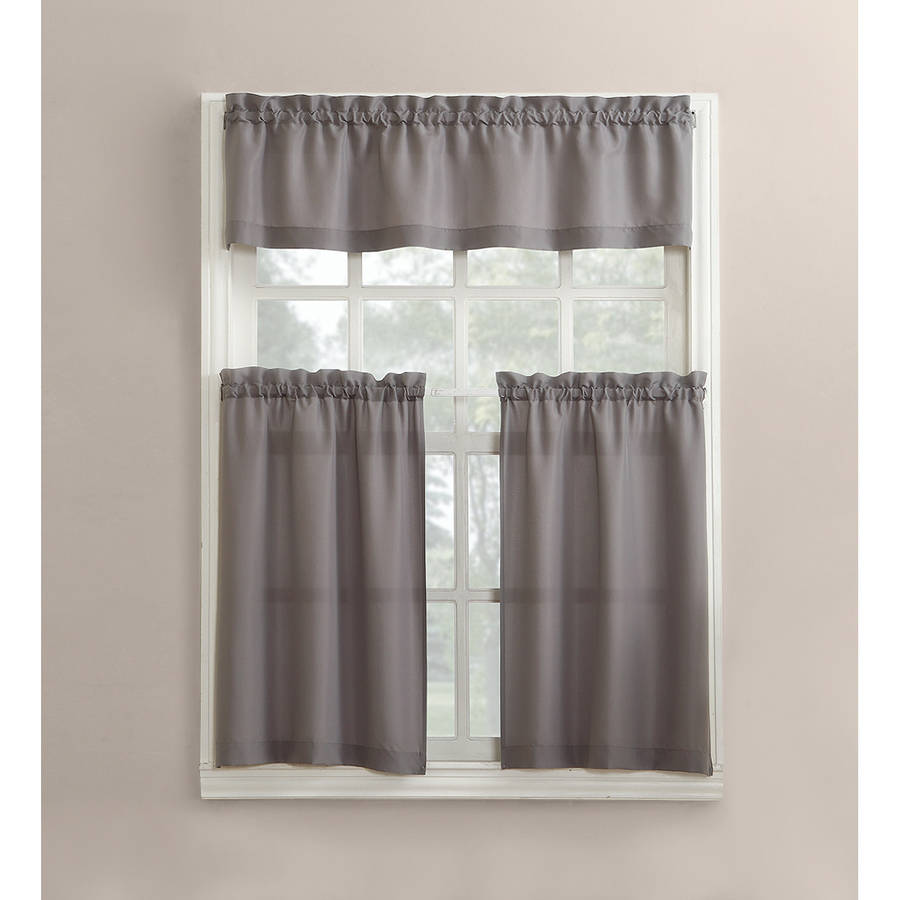 Mainstays Solid 3 Piece Kitchen Curtain Tier And Valance