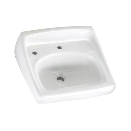 American Standard 0356.115.020 Lucerne Wall Mounted Lavatory Sink for Wall Hangers (included) or Concealed Arms (not included) with Single Faucet Hole and Extra Left-Hand Hole, White