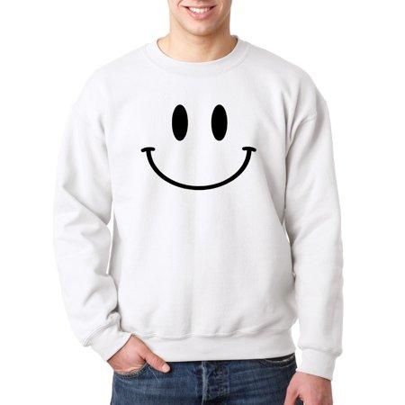 - New Way 849 - Crewneck Smiley Face Emoticon Emoji Happy Smile Sweatshirt 3XL White
