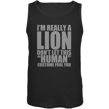Halloween Human Lion Costume Black Adult Tank Top](Black Lion Chest Halloween 2017)