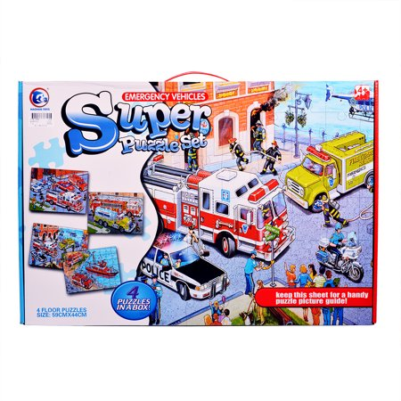 Interesting 4-in-1 City Puzzle Funny Gift for Children Kids Construction Vehicles - image 4 de 6