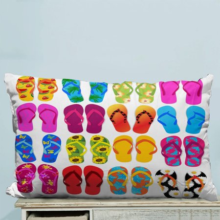 GCKG Colorful Beach Flip Flops Print Pillow Case Pillow Cover Pillow Protector Two Sides 20 x 30 Inches