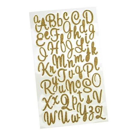 Glitter Cursive Alphabet Letter Stickers, 1-Inch, 50-count, Gold