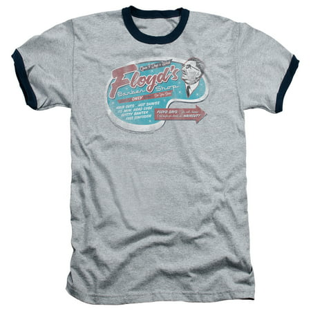 MAYBERRY/FLOYD'S BARBER SHOP - ADULT RINGER - HEATHER/NAVY - 2X