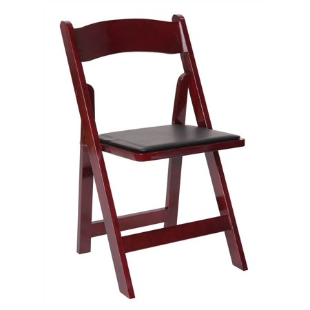 Wooden Folding Chair with Vinyl Cushions - Set of 4 ()