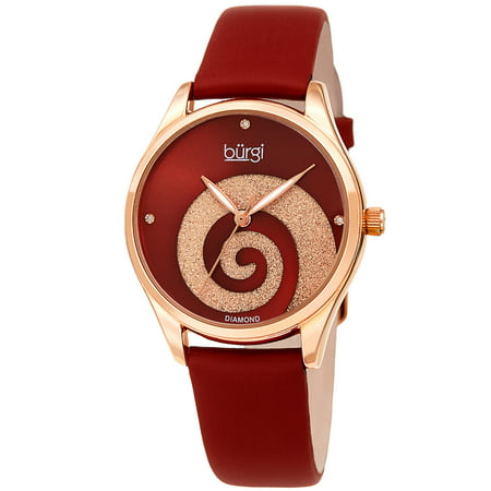 Rose Gold Tone Quartz Watch With Satin Strap [BUR201RGR] Gold Tone Rose Wrist Watch