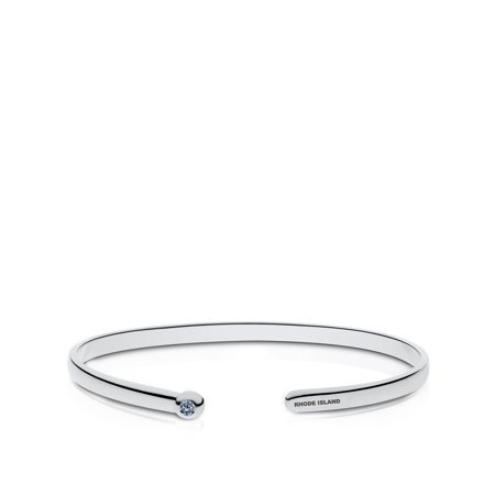 University Of Rhode Island Engraved Sterling Silver White Sapphire Cuff Bracelet - image 1 of 7