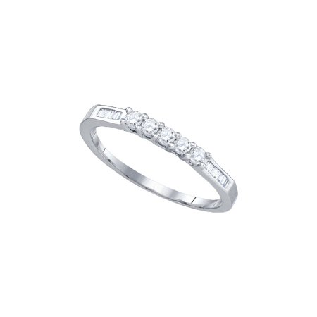 Signature Baguette (14k White Gold Round 5-stone Baguette Diamond Womens Bridal Wedding Anniversary Band 1/3 Cttw )