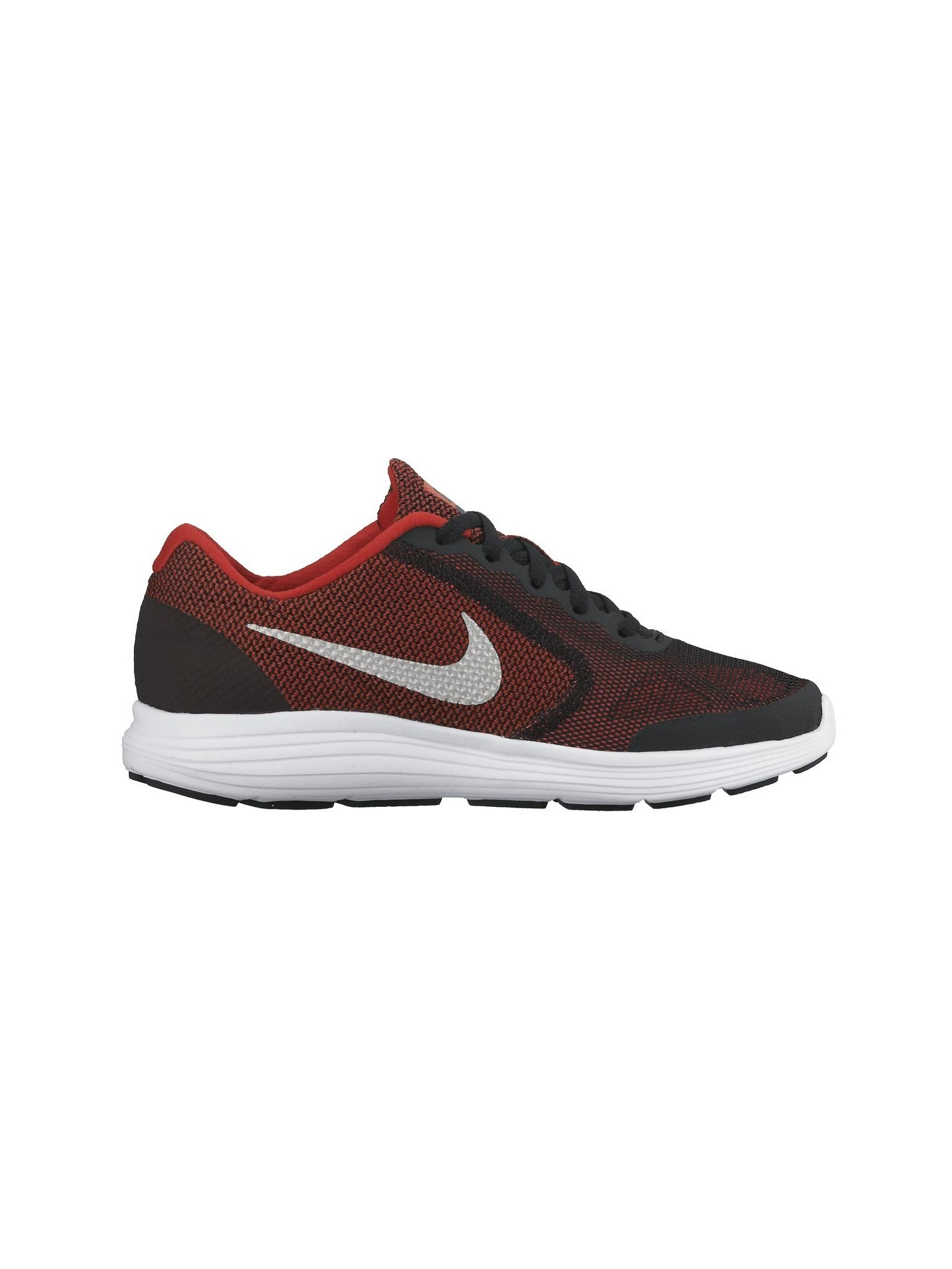 Boy's Nike Revolution 3 Wide (GS) Running Shoe Red/Black/White/Metallic Silver Size
